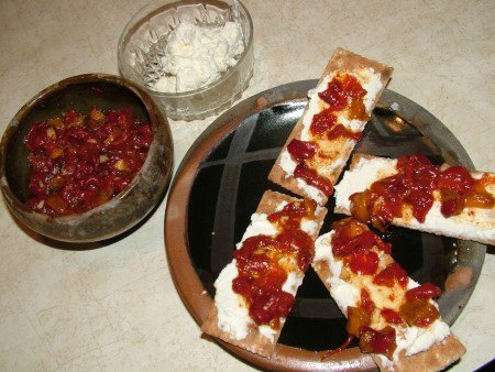 Ajvar with cheese spread