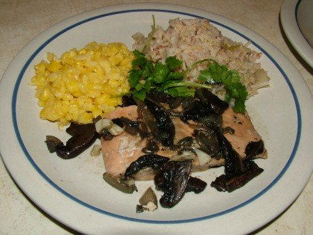 Braised Salmon with Mushrooms and Rice with Leeks