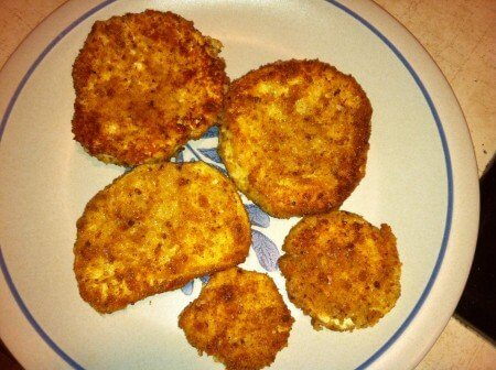 Cheese Crusted Puffball Slices