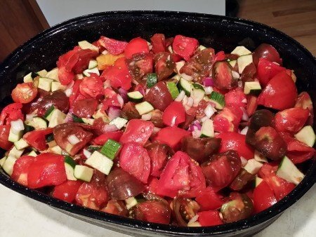 Tomato Zucchini Mix Tossed with Oil