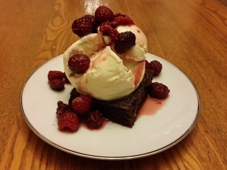 Raspberry Sauce Brownie Ala Mode