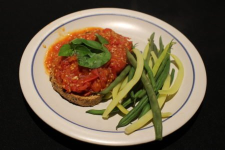 Hot Tomato Sandwich and Beans